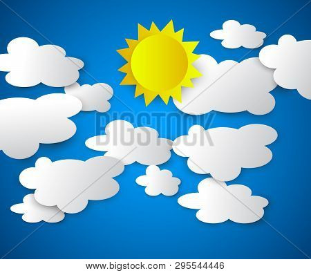 Vector Illustration Of Clouds With Sun On The Blue Background. Summer Sky, Bright Sun. Modern 3d Ori