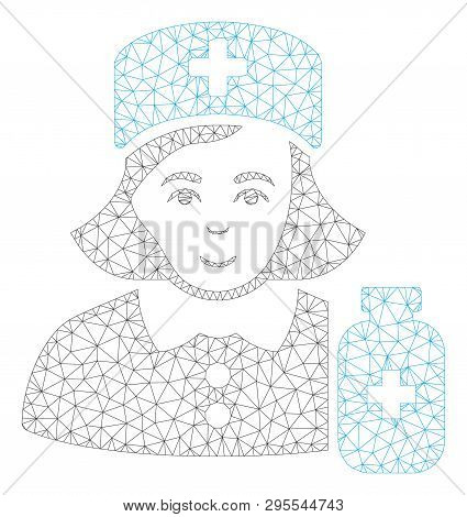 Mesh Apothecary Lady Polygonal Icon Illustration. Abstract Mesh Lines And Dots Form Triangular Apoth