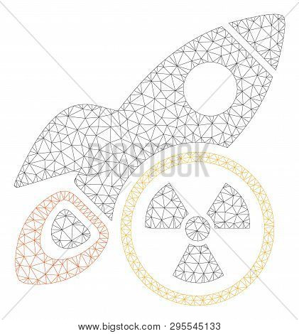 Mesh Atomic Rocket Science Polygonal 2d Illustration. Abstract Mesh Lines And Dots Form Triangular A