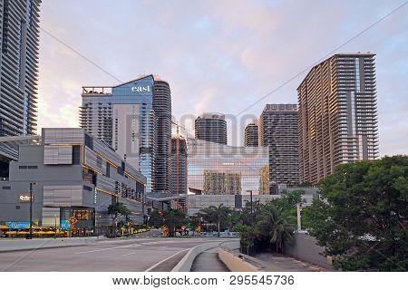 Miami, Florida 11-24-2018 Brickell City Center From The South Miami Avenue Bridge In Early Morning L
