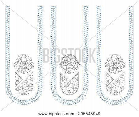 Mesh Baby Cloning Test-tubes Polygonal 2d Illustration. Abstract Mesh Lines And Dots Form Triangular