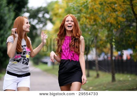 Portrait of girls with beautiful red hair