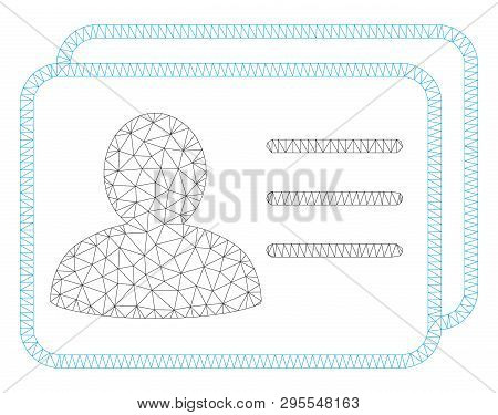 Mesh Account Cards Polygonal Icon Illustration. Abstract Mesh Lines And Dots Form Triangular Account