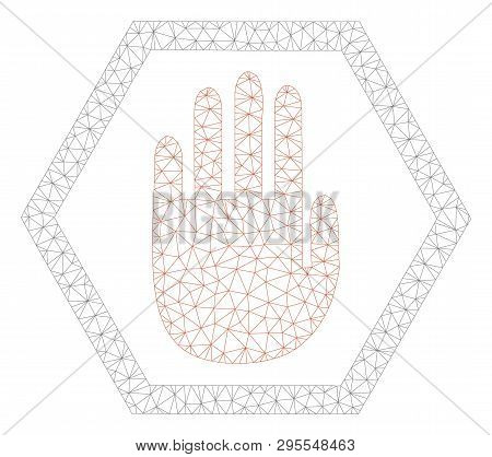 Mesh Abort Hand Polygonal Icon Illustration. Abstract Mesh Lines And Dots Form Triangular Abort Hand