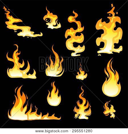 Cartoon Fire Flame Sheet Sprite Animation Vector Set. Illustration Of Fire Motion Animation, Hot Fla