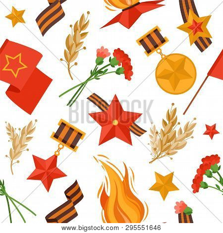 9 May Military Things Vector Pattern For Russian Holiday Of Victory Day. Pattern Things: George Ribb