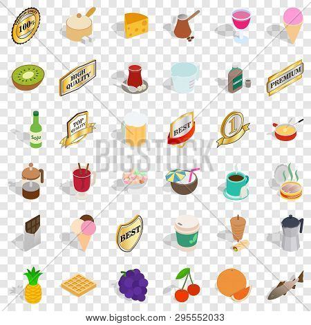 Best Food Icons Set. Isometric Style Of 36 Best Food Icons For Web For Any Design