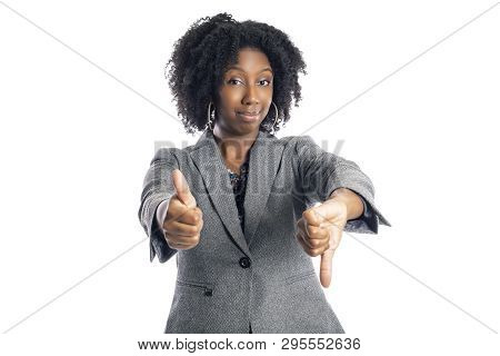 Black African American Female Businesswoman Isolated On A White Background Looking Confused And Unde
