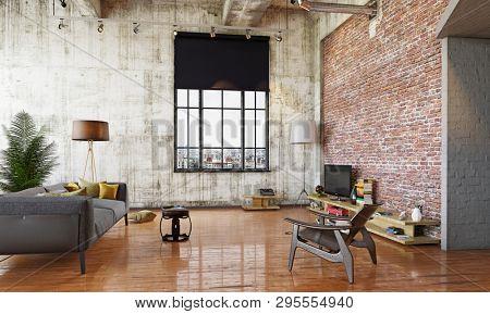 modern loft design living room interior. 3d illustration concept