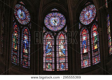 Paris, France - July 21, 2011: Stained Glass Art Of Notre-dame Cathedral In Paris, France. The Frenc