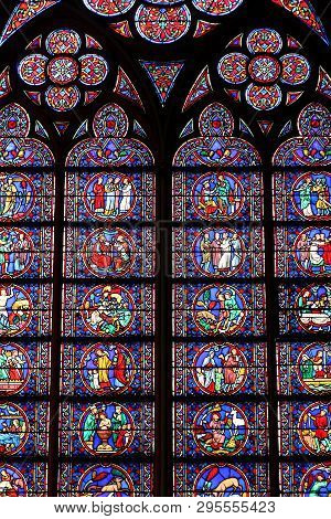 Paris, France - July 21, 2011: Stained Glass Art Of Notre Dame Cathedral In Paris, France. The Frenc