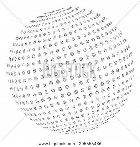 Mesh Abstract Dot Sphere Polygonal 2d Illustration. Abstract Mesh Lines And Dots Form Triangular Abs