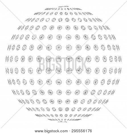 Mesh Abstract Dotted Sphere Polygonal 2d Illustration. Abstract Mesh Lines And Dots Form Triangular