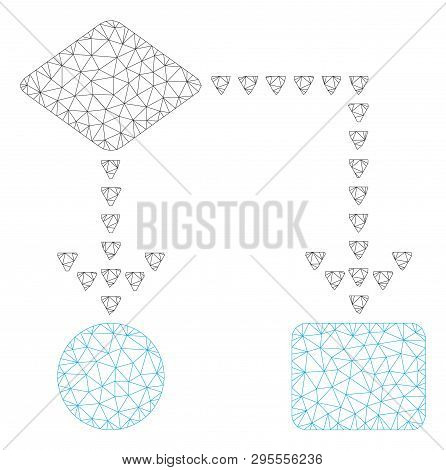Mesh Algorithm Flowchart Polygonal Icon Illustration. Abstract Mesh Lines And Dots Form Triangular A