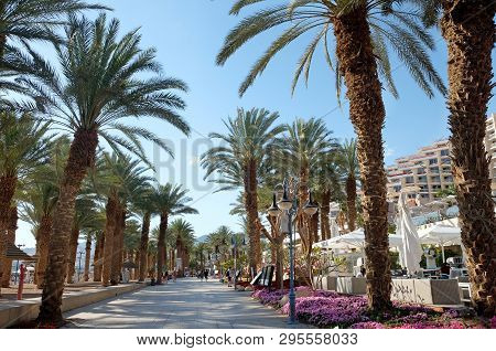 Eilat, Israel - March 03, 2019: Embankment Along The Beach On The Red Sea In Eilat