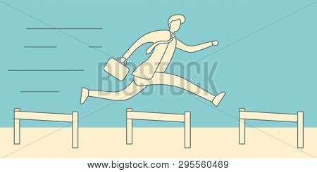 Businessman Jumping Over Hurdles Vector Linear Concept. Business Challenge, Successful Overcoming Il