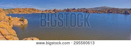 Panorama View Of Watson Lake In Prescott Az. Viewed From The Beginning Of The Watson Lake Loop Trail