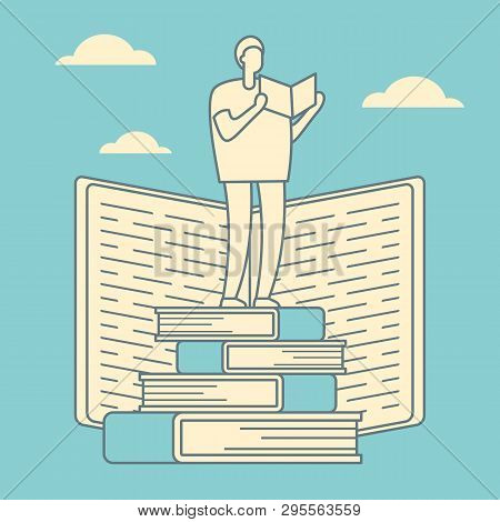 Education Courses Outline Vector Concept. Search For Answers To Questions In Books. Self Education R