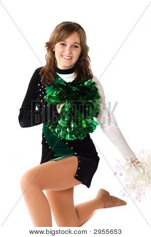 Smiling Girl In A Pom Pon Uniform