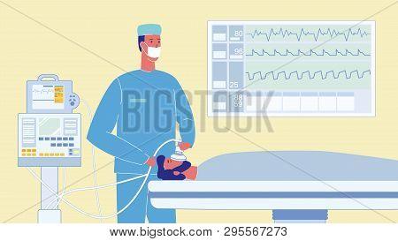 Patient In Reanimation Cartoon Vector Illustration. Unconscious Man On Bed. Heartbeat, Pulse On Moni