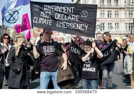 London, United Kingdom, 15th April 2019:- Extinction Rebellion Protesters In Parliament Square, Prot