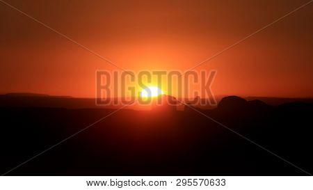 Sunset over Canyonlands national park in Utah