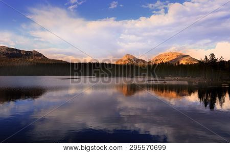 Scenic Crystal lake landscape in Uinta Wasatch national forest