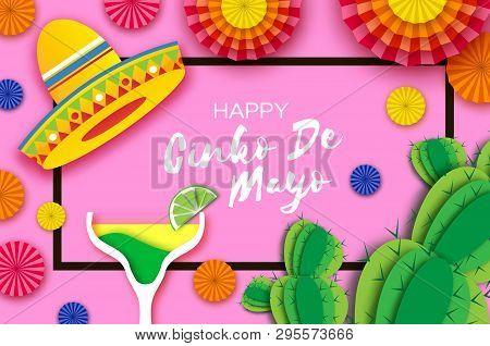 Happy Cinco De Mayo Greeting Card. Paper Fan, Funny Pinata, Cocktail Margarita, Cactus In Paper Cut