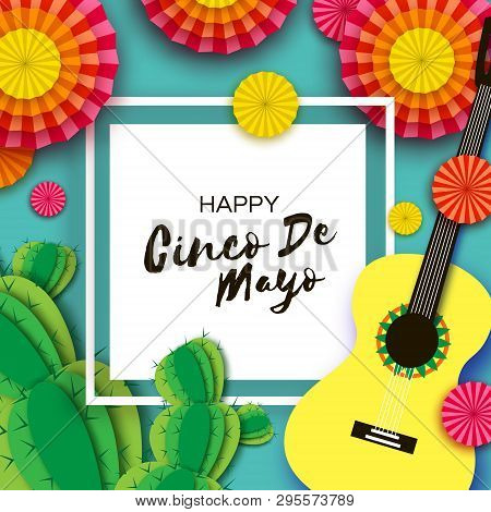 Happy Cinco De Mayo Greeting Card. Paper Fan, Cactus In Paper Cut Style. Mexico, Carnival. Square Fr