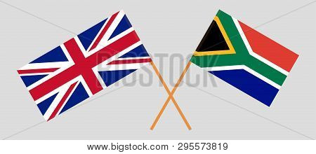 RSA and UK. The South African and British flags. Official colors. Correct proportion. Vector illustration poster