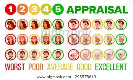 Five Steps Mood Appraisal Vector Icons Set. User Satisfaction Appraisal System, Service Quality Eval