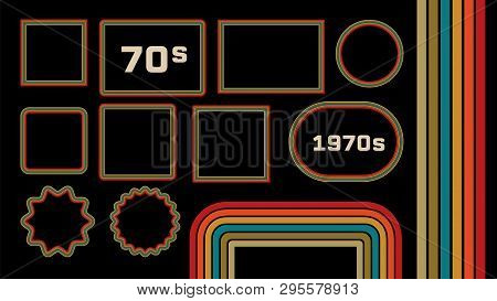 1970s Style Museum Picture Frames Vector Set. Trendy 1970s, Old Fashioned Artistic Decorative Border