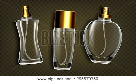 Perfumery Products, Toilet Water Mockup Vector Set. Perfumery Accessories, Female Perfume Bottles Is