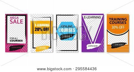Mega Sale for All Courses Set of Templates Vector Illustration. Education via Online Video on Computer or Laptop. E-learning Concept. Training for Students. Training Courses with Discount. poster