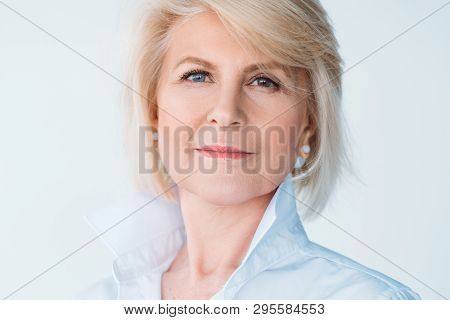 Senior Female Portrait. Elegant Aged Woman. Natural Makeup. Personal Style And Development. Wealthy