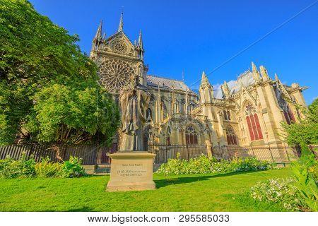 Paris, France - July 1, 2017: Pope John Paul Ii Statue On Side Of Church Notre Dame Of Paris, France