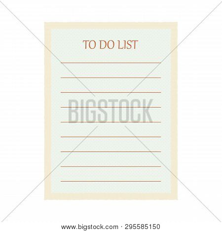 Amazing Cute Vintage Light Blue Todo List In Small Pluses Isolated On White Background. Vector Illus