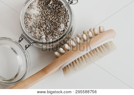 Multipurpose Wooden Brush For Body Massage And Lavender Scrub. Cellulite Treatment. Spa And Aromathe