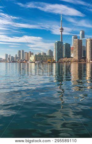 Toronto City Skyline On Sunny Summer Day, Toronto, Ontario, Canada.