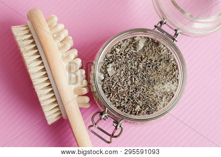 Multipurpose Brush For Self Massage And Body Scrub With Lavender And Salt On Pink Background. Antice