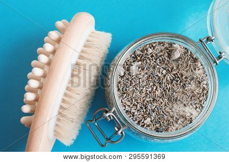 Wooden Brush With Natural Bristle For Dry Body Massage And Natural Scrub With Salt And Lavender On B