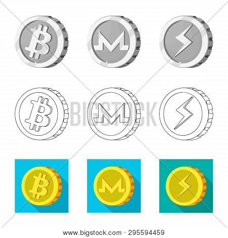 Isolated Object Of Cryptocurrency And Coin Symbol. Collection Of Cryptocurrency And Crypto Stock Sym