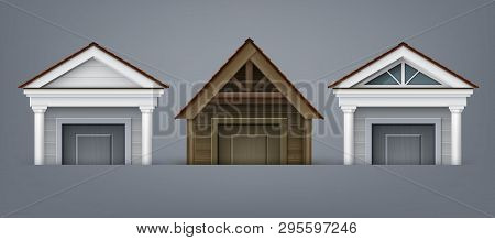 Vector Illustration Of Element Facade, Three Porticos Made Of Wood And Concrete With Columns Over Do