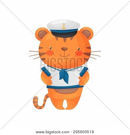 Tiger Sailor Character In A Cartoon Style, In A White T-shirt And Cap.