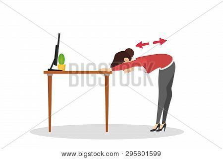 Woman Doing Exercise In Office. Workout During