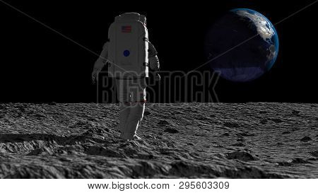3d Rendering. Astronaut Walking On The Moon And Admiring The Beautiful Earth. Cg Animation. Elements