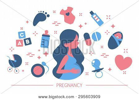Pregnancy concept. Idea of maternity. Baby awaiting poster