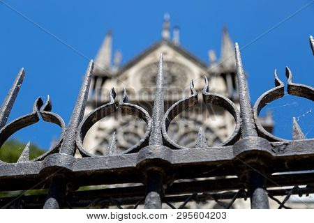 Fence Outside Notre Dame, Paris, France In 2015.