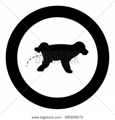 Pissing Dog Puppy Pissing Pet Pissing With Raised Leg Icon In Circle Round Black Color Vector Illust