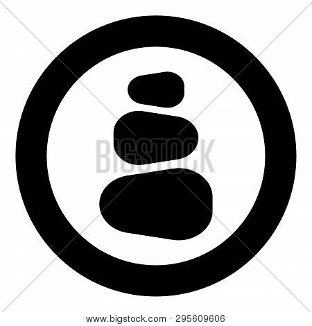 Stacked Stones Stack Stones Zen Stone Tower Spa Stones Stack Icon In Circle Round Black Color Vector